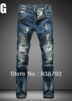 2014 Men's New Fashion Designer Jeans Famous Brand,Ripped Jeans for Men,Low Waist Slim Straight Cotton Denim Blue Trousers Man $47.65