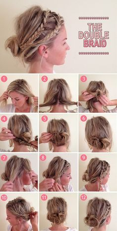 Double Braid messy bun Boho Hairstyles, Wedding Hairstyles With Crown, No Heat Hairstyles, Older Women Hairstyles, Formal Hairstyles, Brunette Hair, Bob Cut, Updos For Medium Length Hair, Messy Bun