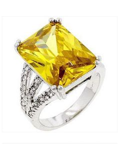 Silver Cocktail Ring Canary Yellow Citrine Cubic Zirconia Princess Size 9 10 #Cocktail