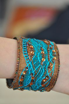 pair of fiber art bracelets - moligami