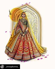 Indian Bride Dresses, Indian Fashion Dresses, Fashion Illustration Dresses, Fashion Sketches, Human Figure Sketches, Fashion Drawing Tutorial, Gala Gowns, Bridal Lehenga Collection, Dress With Shawl