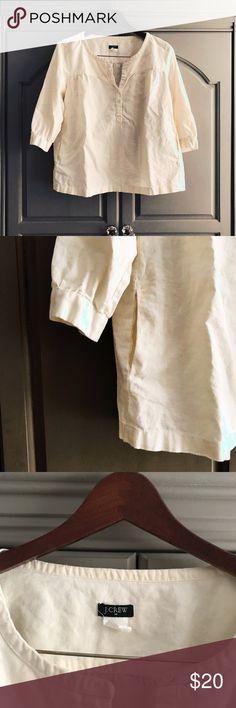 J. Crew Peasant Top Linen/cotton blend. Pockets! Size S. J. Crew Tops Blouses