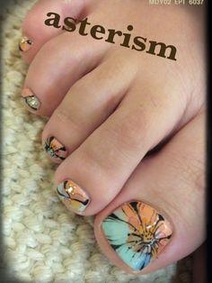 Toenails by Asterism Pretty Pedicures, Pretty Toe Nails, Love Nails, Toenail Art Designs, Pedicure Designs, Beautiful Nail Designs, Beautiful Nail Art, Feet Nail Design, Bella Nails