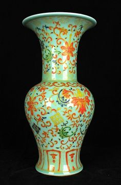 Chinese Qing Porcelain WuCai Vase 10 1/8 x 5 Six Characters at Bottom