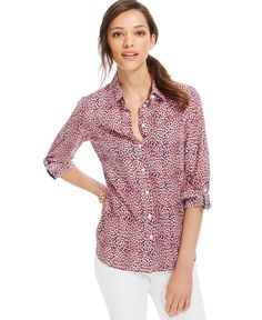 Tommy Hilfiger Printed Button-Down Top