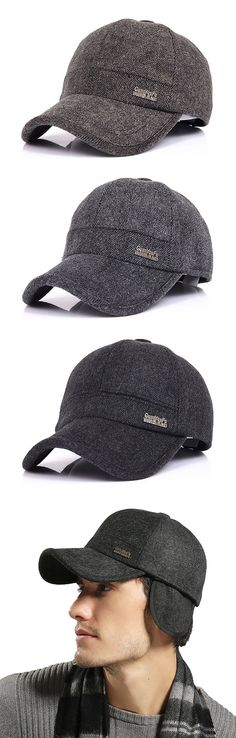 e7461769a668d Mens Woolen Thicken With Ear Flaps Baseball Hats Adjustable Outdoor  Windproof Warm Snapback Caps is hot sale on Newchic.