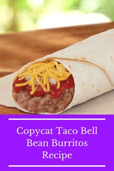 Easy Copycat Taco Bell Bean Burritos Recipe without A Run To the Border Make this Copycat Taco Bell Bean Burritos recipe at home in about the same time it takes to go through the drive through. Taco Bell Red Sauce Recipe, Taco Bell Recipes, Bean Recipes, Sauce Recipes, Mexican Food Recipes, Cooking Recipes, Taco Bell Refried Bean Recipe, Mexican Dishes, Cooking Tips