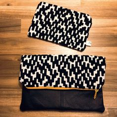 Velvet Fold Over Clutch Black Genuine Leather Zipper by eNtchouKi