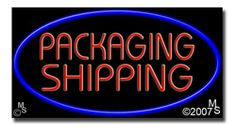 "Packaging Shipping Neon Sign - 20"" x 37""-ANS1500-6048  37"" Wide x 20"" Tall x 3"" Deep  Flashing Border ""ON/OFF"" switch  Sign is mounted on an unbreakable black or clear Lexan backing  110 volt U.L. listed transformer fits into a standard outlet  Hanging hardware & chain included  6' Power cord with standard transformer  For indoor use only  1 Year Warranty on electrical components  1 Year Warranty on standard transformers."
