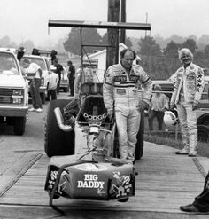 Don Garlits and car on scales - with Eddie Hill in the background