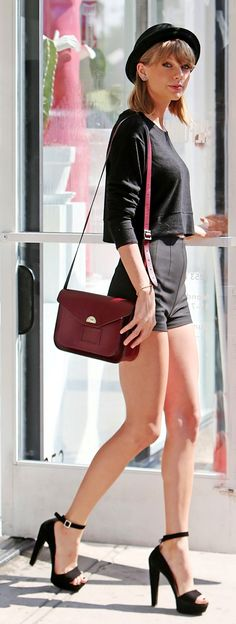 Taylor Swift ; Out shopping, West Hollywood, March 2015 ; Aritzia top, Prada sandals, Cambridge Satchel Company bag & Free People hat