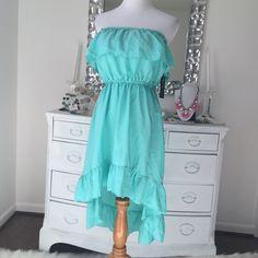Ali & Kris hi low ruffle dress Aqua blue summer dress. Juniors large. Small ink mark on elastic band, as pictured. No trades or PayPal please. Ali & Kris Dresses
