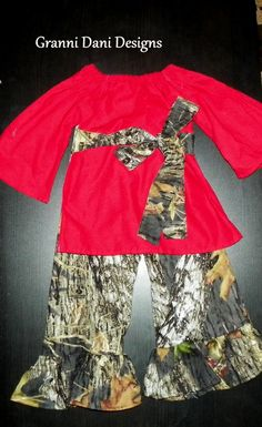 Christmas holiday red and mossy oak camo by GranniDaniDesigns, $40.00