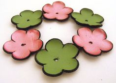 6 pc leather jewelry supplies flowers by HMCreativeSupplies, $6.00