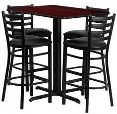 Round Walnut Laminate Table Set w/ 4 Ladder Back Metal Barstools - Black Vinyl Seat - Flash Furniture need to buy in pieces, this complete Bar Height Table and Stool set will save you time! This set includes an elegant Walnut Laminate T Bar Table Sets, Patio Bar Set, Bar Height Table, Table And Chair Sets, A Table, Restaurant Table Setting, Restaurant Bar Stools, Restaurant Furniture, Black Bar Stools