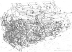Automotive Illustration Of A Ferrari Engine Working Drawings By Tony  Matthews