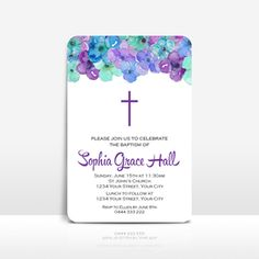 Purple, turquoise & blue girls baptism, first holy communion or christening invitation