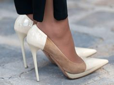 Paris Fashion Week Street Style Spring 2013 Love these shoes. Crazy Shoes, Me Too Shoes, Fancy Shoes, Louboutin, White Heels, Mocca, Spring Street Style, Beautiful Shoes, Marie Claire