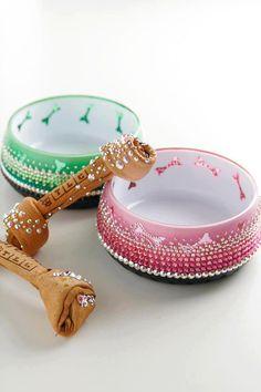 Swarovski crystal dog food bowl