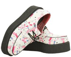 White Faux leather with Hello Kitty Print Vegan Creeper on Mondo Sole   T.U.K. Shoes