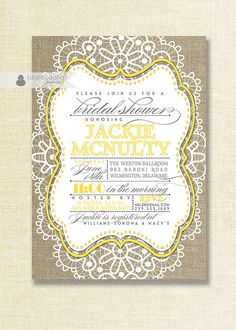 Yellow & White Lace Burlap Bridal Shower Invitation with Lacy Linen rustic - Jackie Style Available at digibuddha.com