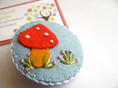Hand Embroidered Wool Felt Hair Clip  Toadstool 2 by Neskat, $8.00