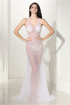 9c2260f9a0a Gorgeous V Neck Open Back White Tulle Beaded See Through Prom Dress