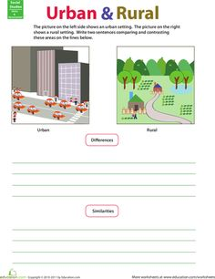 Worksheets: Compare and Contrast: Rural and Urban