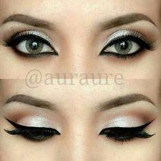 Eye makeup for black evening dress