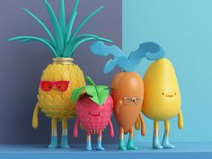 New series of food illustrations by Mexico-based artist Aaron Martinez (previously featured here and here). More illustrations via Behance Fruit Illustration, Food Illustrations, Character Illustration, Digital Illustration, Design 3d, Grid Design, Drawing Heart, 3d Character, Character Design