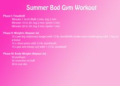 Summer Bod Gym Workout