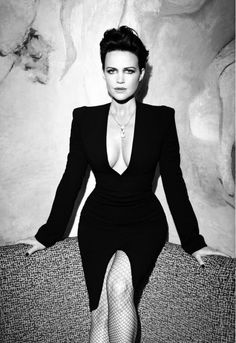 Carla Gugino plunging cleavage very low cut dress