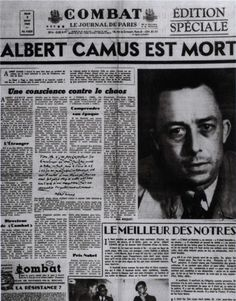 """gregorygalloway: """" Albert Camus November 1913 – 4 January dies in car crash returning to Paris with his publisher, Michel Gallimard. Camus had intended to take the train with his wife, but. Albert Camus, Journal Vintage, August Strindberg, Nobel Prize Winners, Book Writer, Place Names, Nonfiction, Good Books, Philosophy"""