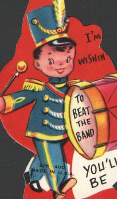 Vintage-Valentines-Day-Card-Boy-Marching-Band-Uniform-Drum-UnUsed-ToBeatTheBand