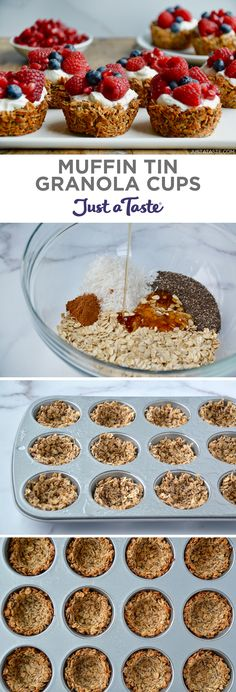 They're chewy. They're crunchy. - Food RecipesThey're chewy. They're crunchy. And they're your new breakfast essential: Muffin Tin Granola Cups. Add your favorite yogurt and fruit for a healthy breakfast or snack. Muffin Tin Recipes, Fruit Recipes, Dessert Recipes, Healthy Recipes, Snack Recipes, Granola Cups Recipe, Yogurt Breakfast, Breakfast Cookies, Muffin Tin Breakfast