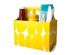 Condiment Caddy : Recipes and Cooking : Food Network Condiment Caddy, Rubber Flooring, Outdoor Parties, Party Centerpieces, Practical Gifts, Unusual Gifts, Mellow Yellow, Food Network Recipes, Summer Fun