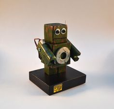Green Robot Art, Desktop Sculpture, Handmade Found Object Assemblage