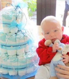 wikihow has a answer to how to anything including this cake of diapers with pics on step by step instructions