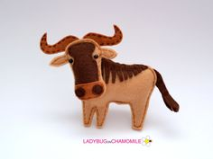 Felt WILDEBEEST stuffed felt Wildebeest magnet or ornament