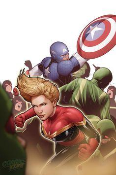 Avengers #28 - Captain Marvel and Captain America by John Tyler Christopher *