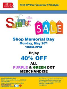 Please Join us Memorial Day 10AM -2PM for 40% Off all Purple and Green Dot Merchandise (All our latest and greatest Spring and Summer Merchandise!)