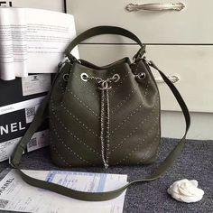 Chanel Stud Calfskin Bucket Bag Green A93598 Green Bag ceea2c0468a7d