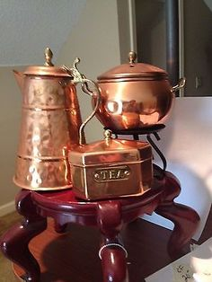 Copper-Brass-Teapot-Tea-Canister-Water-Pitcher-3-Kitchen-Items
