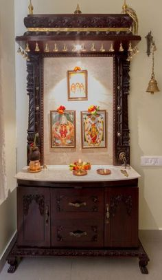 How to Ace-Up Mandir Design And Pooja Rooms Temple Room, Home Temple, Ethnic Home Decor, Indian Home Decor, Temple Design For Home, Mandir Design, Indian Home Interior, Indian Interiors, Classic Interior