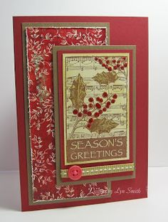 Christmas card by Lyn Smith using Darkroom Door Yuletide Vol 2 Rubber Stamps Christmas Cards 2018, Christmas Card Crafts, Homemade Christmas Cards, Christmas Music, Christmas In July, Vintage Christmas Cards, Christmas Cross, Christmas Greeting Cards, Handmade Christmas
