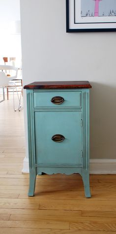 Sweet little bedside table in Annie Sloan's Duck Egg Blue and stained wood top.
