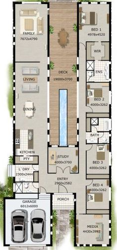 4 BEDROOM + STUDY HOUSE PLAN Make bed 2 bath for master suite and include both shower and tub .current bath would be closet, closet would be part of bedroom. Floor Plan 4 Bedroom, 4 Bedroom House Plans, Dream House Plans, Modern House Plans, Sims 4 House Plans, Modern Floor Plans, New House Plans, Bedroom Bed, Bedroom Ideas