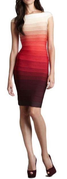 Vestido coquetel em tons de vermelho - http://vestidododia.com.br/modelos-de-vestido/vestidos-coquetel/vestidos-coquetel/ #fashion #dresses