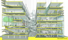 Park Tower-- LTL Architects Colored section cut including parking, retail, hotel, and residential areas. Public Architecture, Architecture Drawings, Architecture Design, Architecture Diagrams, Ltl Architects, Sectional Perspective, Section Drawing, Architect Drawing, Architectural Section