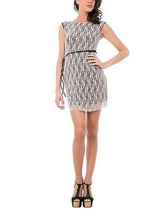 Large, Beige, Les Sophistiquees Women's Abito Pizzo Dress NEW